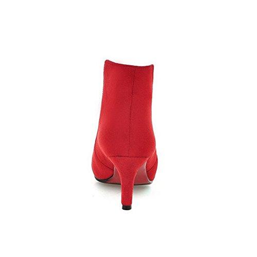 VogueZone009 Donna Tacco Alto Puro Scarpe A Punta Tirare Stivali Rosso