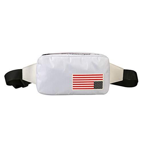 XZDCDJ Crossbody Tasche Herren Brusttaschen Hüfttasche Frauen Unisex Leicht Tasche Nationalflagge Taschen Mini Brusttasche Nachtclub Paket Weiß -