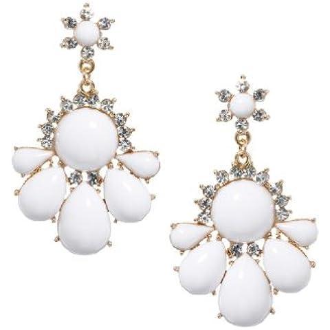 Pendientes Yazilind joyería de estilo bohemio blanca completa brillante diamante de imitación del embutido de la flor cuelga