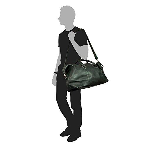 Große Reisetasche / Weekender Größe L aus Nappa-Leder, für Damen und Herren, Braun, Jahn-Tasche 697 Schwarz