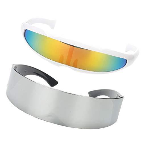 Fenteer 2pcs Futuristische Sonnenbrille Rahmenlose Verspiegelte Gläser Soldat Space Alien Roboter Brille