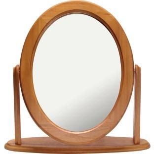 Wooden Oak Effect Oval Dressing Table Mirror (662355877)
