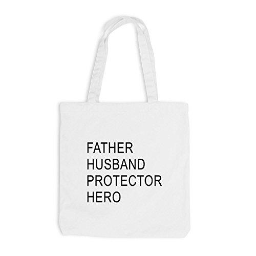 Borsa Di Juta - Padre - Marito - Protettore - Eroe - Papà Bianco