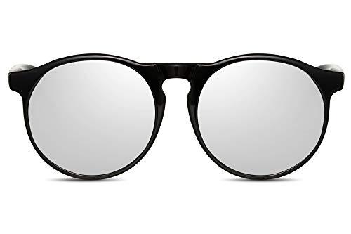 Cheapass Rund-E Sonnenbrille Schwarz Silber Verspiegelt UV-400 Designer-Brille Plastik Damen Herren