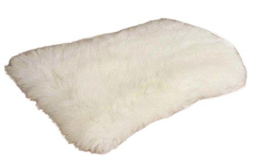 Zaloop Sitzkissen aus echtem Lammfell in versch. Farben und Größen auch medizinisch echt Fell (weiß, ca. 50 x 35 cm) -