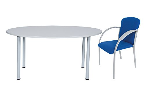Dila GmbH Tischset Besprechungstisch Oval + 4 Bürostühle Büro Schreibtisch Stühle Tisch | Tischplatte in Verschiedenen Farben (Ahorn)