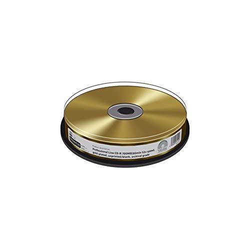 Professional Line CD-R 700Mb|80Min 52-fache Schreibgeschwindigkeit, Golden, Unbedruckt/Blank, zur Langzeitarchivierung, 10er Cake