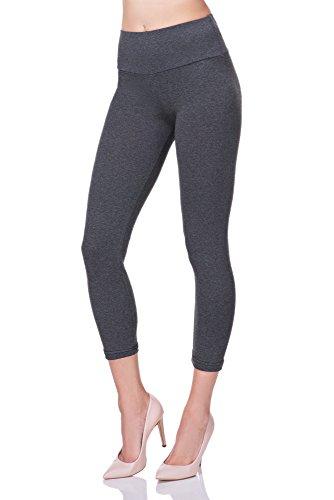 Futuro fashion® - leggings a 3/4 in cotone con fascia contenitiva - a vita alta - ideali per lo sport - grafite - 44 - lwp34