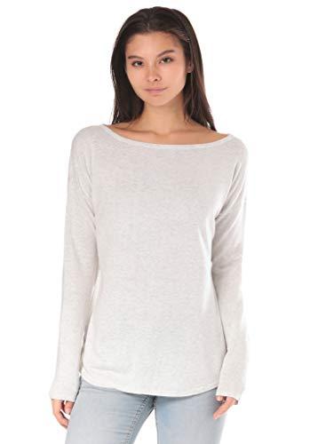 Lakeville Mountain Damen Strick-Pullover MAGUI Lässiger Strick-Pulli für Frauen Atmungsaktiv Business & Freizeit-Sweatshirt Langarm-Shirt mit U-Ausschnitt Regular Fit Einfarbig Ecru Hell-Grau M