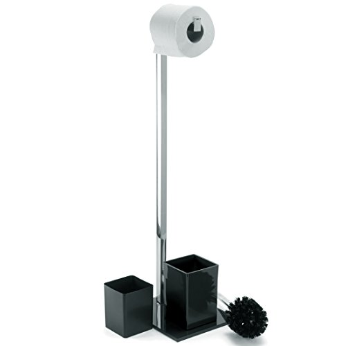 Toilettenbürstenständer Toilettenbürste Rollenhalter WC Garnitur  Toilettenpapierhalter Mit Glas Standfuß (Schwarz)