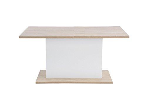 Avanti trendstore - etiopia - tavolo da pranzo allungabile fino a 205 cm, in laminato di legno e colore bianco, dimensioni: lap 160/205x76x90 cm