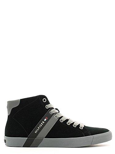 Tommy Hilfiger Volley 6B scarpa uomo stringata sneaker alta in camoscio nero (41)