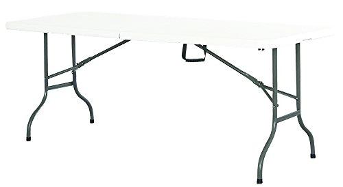 Table de réception 180cm Format Valise Pieds Plateau pliants polyéthylène et Acier épais Cap. 6 pers. - Multi Usage: Réception, Camping, intérieur