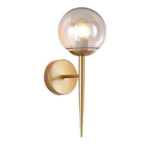 CHEN Postmoderne Eisenwandlampe Einfacher Entwurf Kreative Wandleuchte des einzelnen Kopfglashotelkorridor-Gangs Mode, Golden -