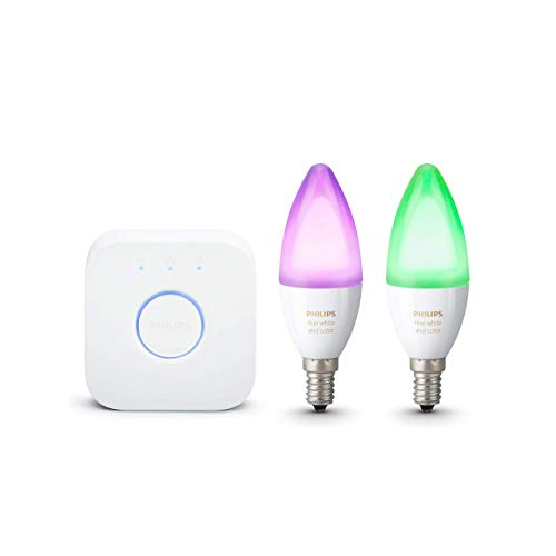 Philips Hue White and Color Ambiance Lampadine LED, Attacco E14, Confezione da 2 Pezzi + Philips Hue Bridge 2.0 Controllo del Sistema