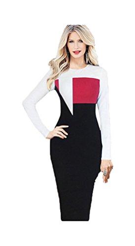 YIJIA Robe à Manches Longues Mince Sexy Tunique Slim Longue Pour Femme Rouge