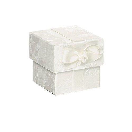 Rössler Papier 13421066000 Eleganza Boîte en carton carrée avec noeud Blanc 6,5 x 6,5 x 6,5 cm
