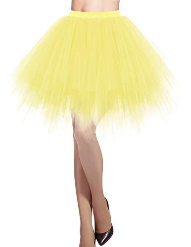 Hübsche Kostüm Damen - Dresstells Damen Tüllrock 50er Rockabilly Petticoat Tutu Unterrock Kurz Ballett Tanzkleid Ballkleid Abendkleid Gelegenheit Zubehör Yellow S