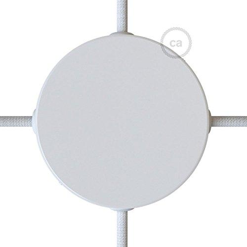 Creative-Cables Kit Baldachin weiß 120 mm mit 4 seitlichen Ausgängen und Befestigungszubehör - Weißen Baldachin Kit