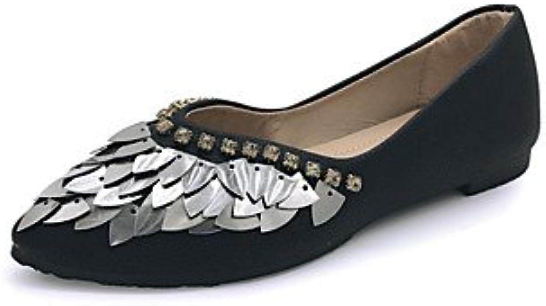 Pisos De Mujeres Zapatos Formales Pu Caída Casual Walking Zapatos Formales Sequin Talón Plano Negro Blanco Bajo...