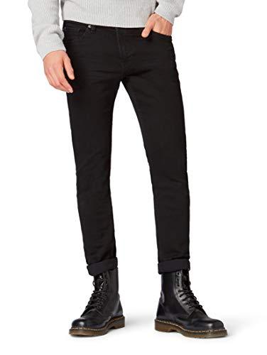 Tom Tailor Denim (NOS) Herren Slim Jeans Super Piers, gewaschen, Schwarz (Black Denim 10240), W32/L36 (Herstellergröße: 32)
