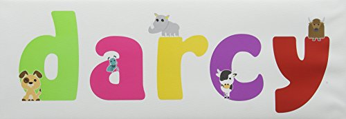 15 x 42 cm, Multicoloured: Feel Good Art Gallery Wrapped Nursery Box Canvas with Solid Front Panel Rectangle Design Cute Illustrations and Personalised with Girl's Name (15 x 42 x 4 cm, Small, Darcy)
