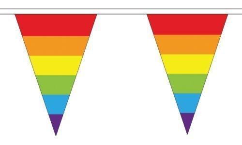 Rainbow (LGBT) Triangulaire Bannière 12 drapeaux sur cette 5 metre De Long bannière + 59mm Insigne De Bouton