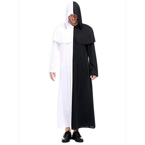 Zarupeng Männer Halloween Kapuzen Robe Kostüm Schwarz und Weiß Lange Hoodie Mantel Cosplay Ball Party Overalls Handschuhe Anzug