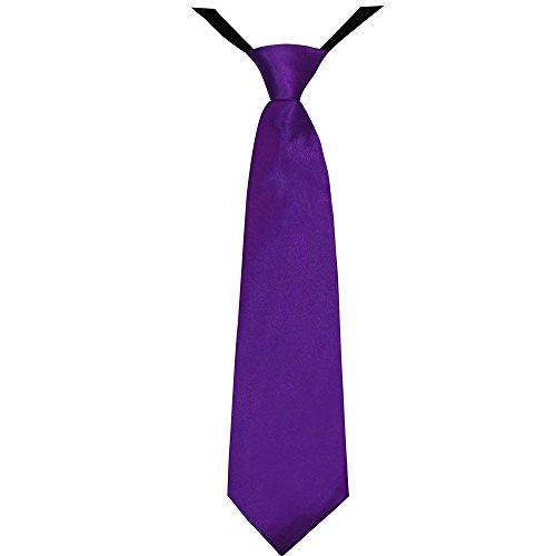 Soul-Cats® Jungen Krawatte 35 cm vorgebunden Seiden Look Hochzeit Kommunion Jugendweihe, Farbe:lila
