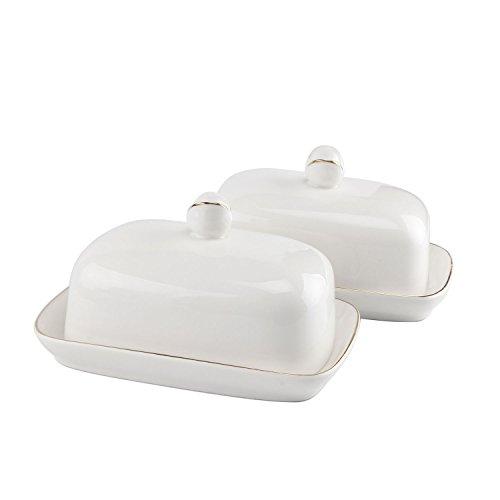 ComSaf Beurrier avec Couvercle Blanc Céramique Lot de 2, Boîte à Beurre Parfait pour Déjeuner Repas Pique-Nique et Cuisine Service de Table