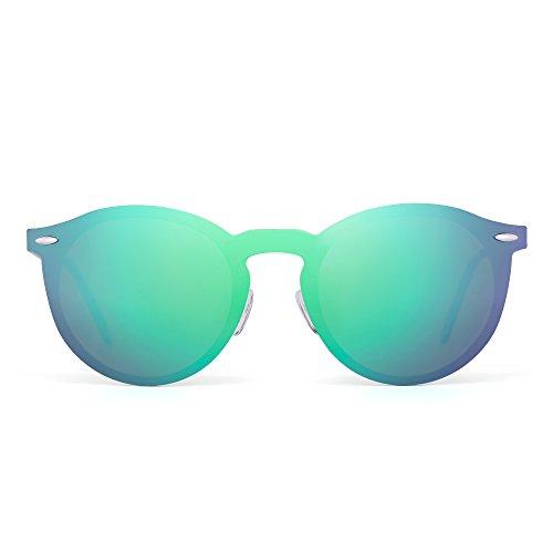 Sonnenbrille Spiegel Polarisieren Rahmenlos Club Runden Randlos Reflektierend UV400(Silber/Polarisiertes Grün)
