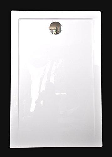 Art-of-Baan® - Extra flache Duschtasse, Duschwanne aus Acryl, glatt Weiß Hochglanz; 120x80x3,5cm inkl. Ablaufgarnitur