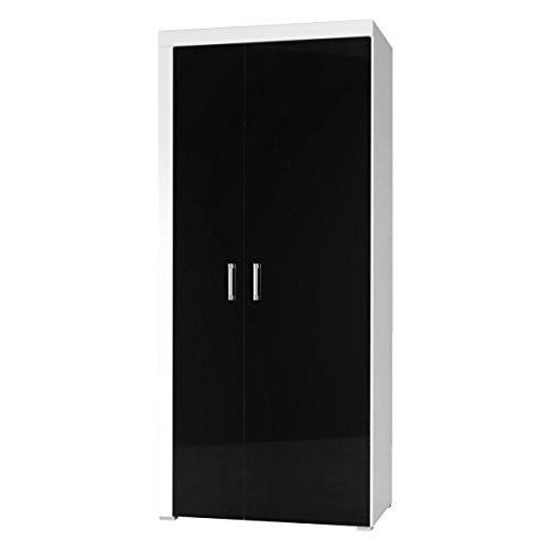 Furniture24 Kleiderschrank Schrank Wohnzimmerschrank Samba Hochglanz (Weiß/Schwarz Hochglanz)