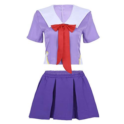 Kostüm Sexy Figur - Agoky Sailor Moon Cosplay Kostüm Schulmaedchen-Matrose Japan Uniform Solidat Anime Verkleidung Halloween Weinachten Faschingskostüm Lila Small