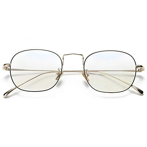 YMTP Metallrahmen Für Frauen Gläser Klare Linse Kein Grad Gläser Gute Qualität Stahl Kupfer Männer Grad Brille Rahmen, BlackGold