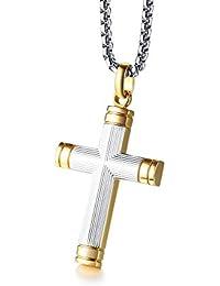 dba497c342b6 Vnox de Dos Tonos de Acero Inoxidable con Textura de Oro Chapado en  Cristianismo Bautismo Cristiano Cruz Jesús Collar Colgante para…
