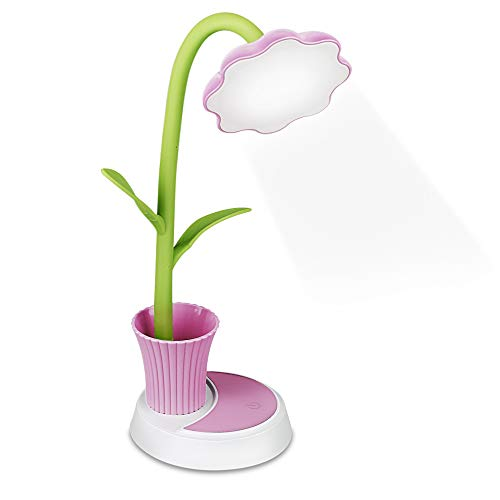 Zorara Schreibtischlampe für Kinder,Dimmbare Nachttischlampe mit Touchsensor, Augenfreundlich Leselampe mit Stifthalter,USB Wiederaufladbare Tischlampme für Kinder (Pink)