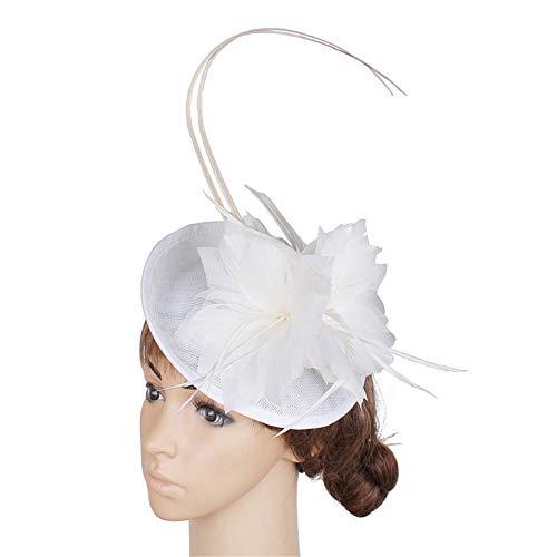 Ying xinguang Damen Vintage Fascinator Hut Feder Blume Hochzeit Kopfbedeckung Haaraccessoires Halloween Royal Ascot Cocktail Tea Party, weiß