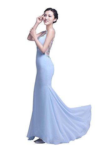 YiYaDawn Langes Hochwertiges Meejungfrau Ballkleid Abendkleid für Damen Hellblau