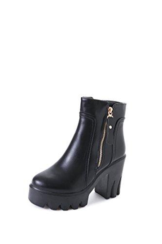 Women's Short Stiefel Martin stiefel Plattform Leder nähen künstlicher PU winter Herbst, schwarz, 38 (Plattform Schwarze Beine Stiefel Schnalle)