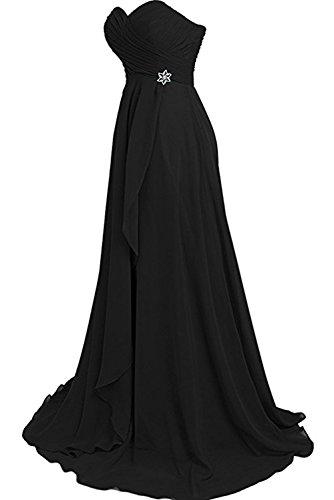 Ivydressing Damen einfach A-Linie bodenlang Herzform aermellos Chiffon Rueckenfrei Falte Brautfernkleid Abendkleid Promkleid Schwarz