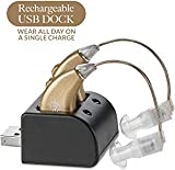 Digital Hearing Amplifiers - Rechargeable BTE Personal Sound Amplifier Pair with USB Dock