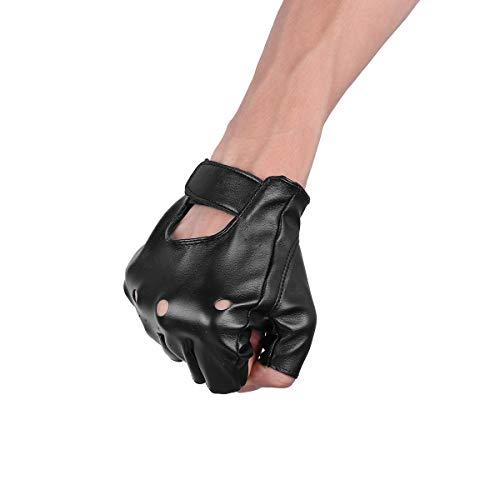fd7b991fa53908 Agoky Lederhandschuhe fingerlose Handschuhe aus Kunstleder Halbfinger  Männer Gothic Punk Rock.