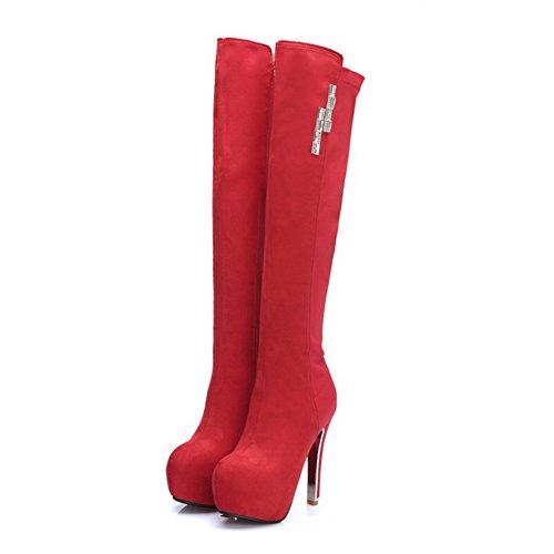 VogueZone009 Damen Rein Blend-Materialien Hoher Absatz Reißverschluss Rund Zehe Stiefel Rot