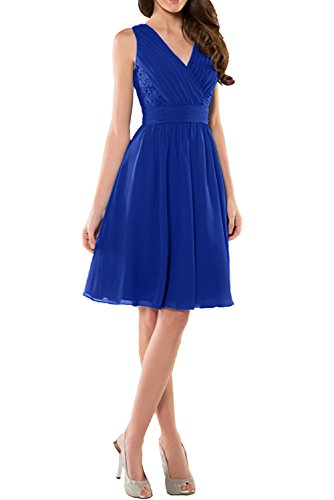 Charmant Damen Dunkel Blau Chiffon Abendkleider Kurz Festliche Kleider  Ballkleid Brautjungfernkleid Mini Royal Blau