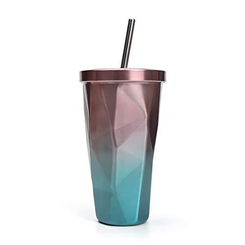 Wisolt Becher mit Farbverlauf, 16Oz Edelstahlbecher mit Deckel und Strohhalm, doppelwandige Büro-Kaffeetasse für Zuhause, Büro, Outdoor-Aktivitäten, ideal für EIS und heiße Getränke (Stroh-tasse Für Heiße Getränke)