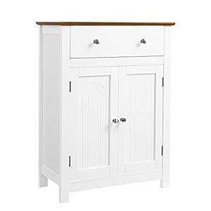 VASAGLE Badezimmerschrank, Badschrank mit Schublade, Kommode Sideboard, Aufbewahrungsschrank aus Holz, 60 x 80 x 30 cm (B x H x T), weiß+braun BBC62WT