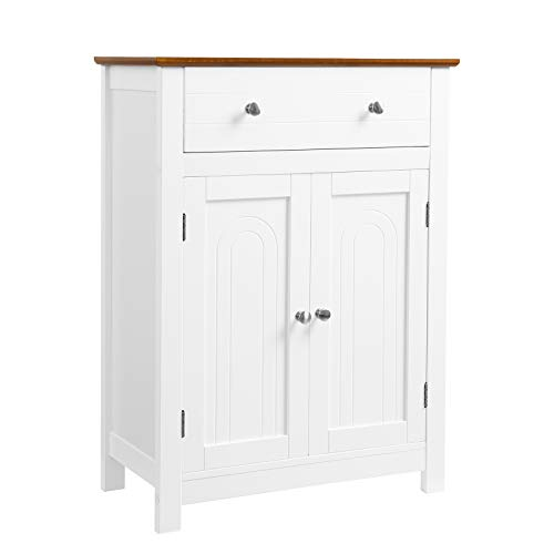 VASAGLE Armario para baño, Mueble de baño con cajón y balda Ajustable, con Estilo rústico, Madera, Blanco y marrón, 60 x 30 x 80 cm BBC62WT