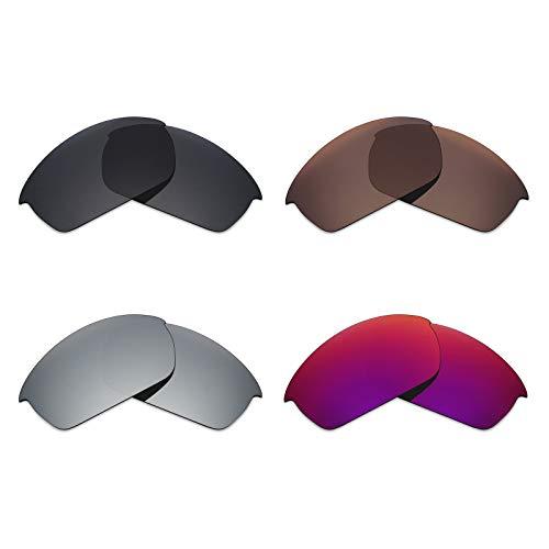 Mryok polarisierte Ersatzgläser für Oakley Flak Jacket Sonnenbrille - Stealth Black/Bronze Brown/Silver Titanium/Midnight Sun
