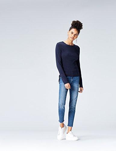 FIND Damen Pullover mit Schnürdetails Blau (Navy)